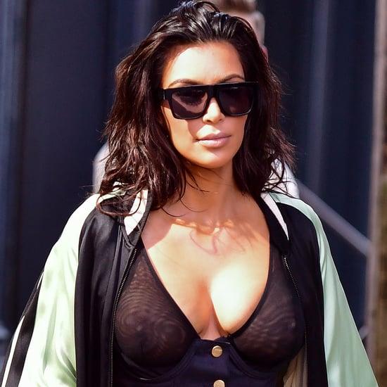 Kim Kardashian Showing Her Nipples Street Style