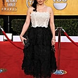 Helena Bonham Carter faced a lot of criticism for her Golden Globes ensemble so went for a safer Marc Jacobs dress this time.