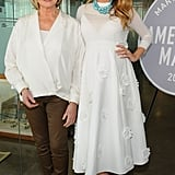 Blake joined Martha Stewart at the American Made Summit in a crisp white flower-embellished Michael Kors ensemble, peach pumps, and a turquoise statement necklace.