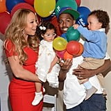Nick Cannon and Mariah Carey show off their twins, Monroe and Moroccan, at the Santa Monica Pier for Family Day in LA.