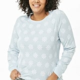 Snowflake Print Plus-Size Thermal Sweater
