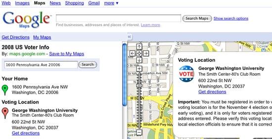 2008 US Voter Info on Google Maps