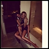 Jennifer Hawkins and her sister were all long legs and tanned skin as they hugged it out. Source: Instagram user jenhawkins_