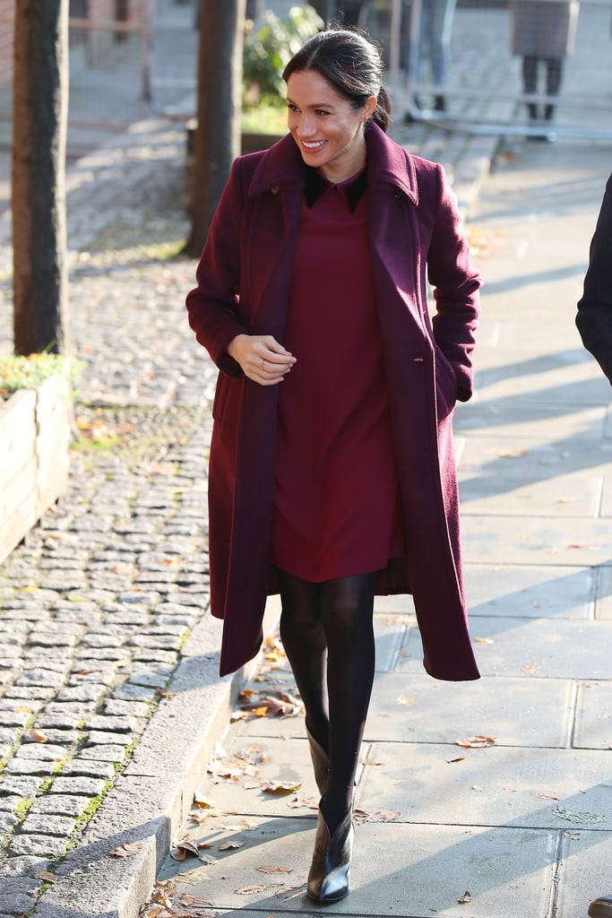 212773bcc1a Meghan Markle s Burgundy Dress November 2018