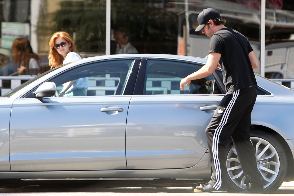 Sacha Baron Cohen and his wife, Isla Fisher, had a breakfast date this morning in LA. The couple spent some alone time together after a family outing this weekend. Isla and Sacha accompanied their daughters, Olive and Elula, to a birthday party and endearingly carried the girls back to the car afterward.  The star couple is spending downtime on the West Coast for now. Sacha is coming off a press tour for his most recent project, The Dictator, and Isla will begin a string of promotional tours for her upcoming films. She has Bachelorette hitting theaters in September, followed by Rise of the Guardians, and news regarding her third and highly anticipated film was announced this week —The Great Gatsby's release date was pushed back from December of this year to Summer 2013.