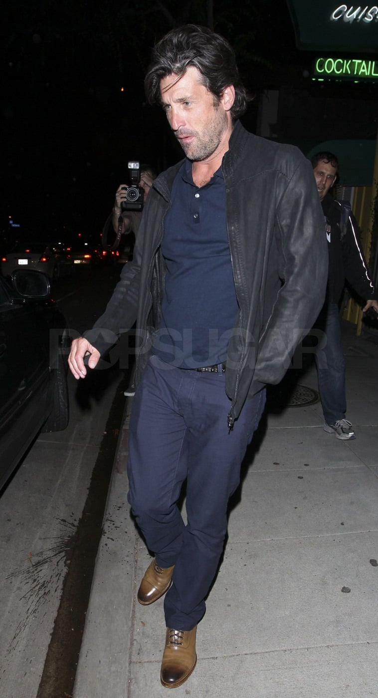 Patrick Dempsey layered up with a leather jacket.