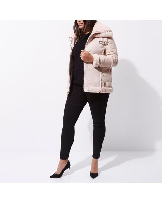 215bf5f0b74f5 River Island Pink Faux Fur Trim Aviator Jacket
