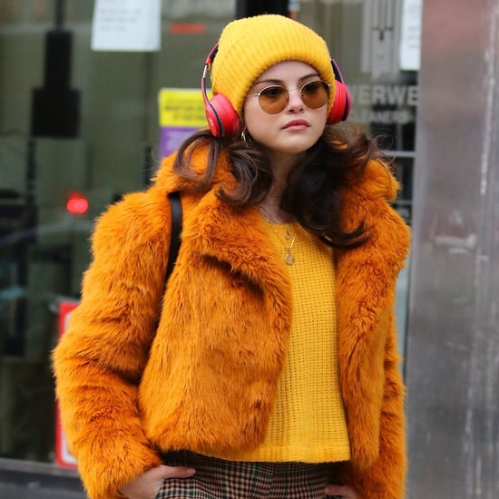 Shop Selena Gomez's Fuzzy Orange Cropped Coat