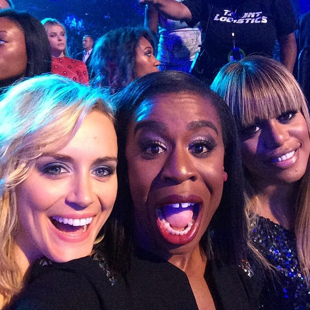 The lovely ladies of Orange Is the New Black — Taylor Schilling, Uzo Aduba, and Laverne Cox — huddled up for a smiley shot.