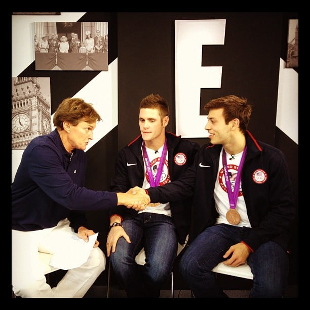 Bruce Jenner chatted with 100 meter backstroke medalists Matt Grevers and Nick Thoman. Source: Instagram user willmarfuggi