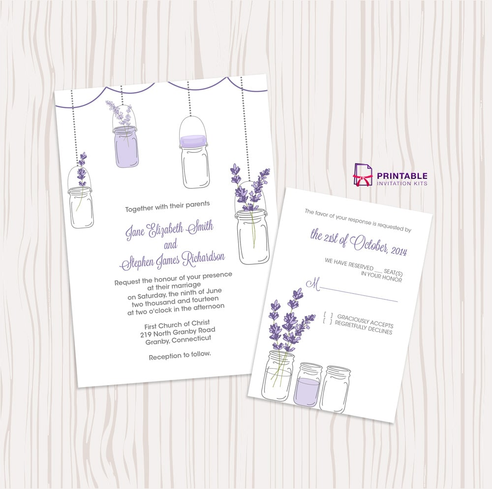Lavender And Mason Jar Wedding Invitation Free Printable Wedding - Free mason jar wedding invitation templates