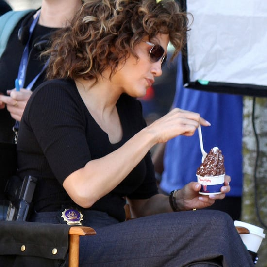 Jennifer Lopez Eating Ice Cream on the Set of Shades of Blue