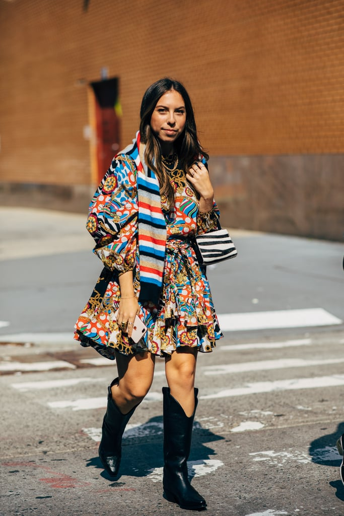 Pair a flirty dress with sturdy boots that can take you anywhere.