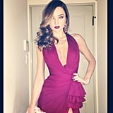 Miranda Kerr showed off her low-cut Globes dress. Source: Instagram user mirandakerrverified