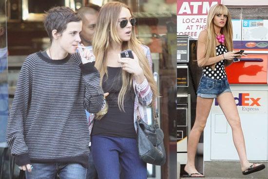 Photos of Lindsay Lohan Wearing a Polka Dot Swimsuit