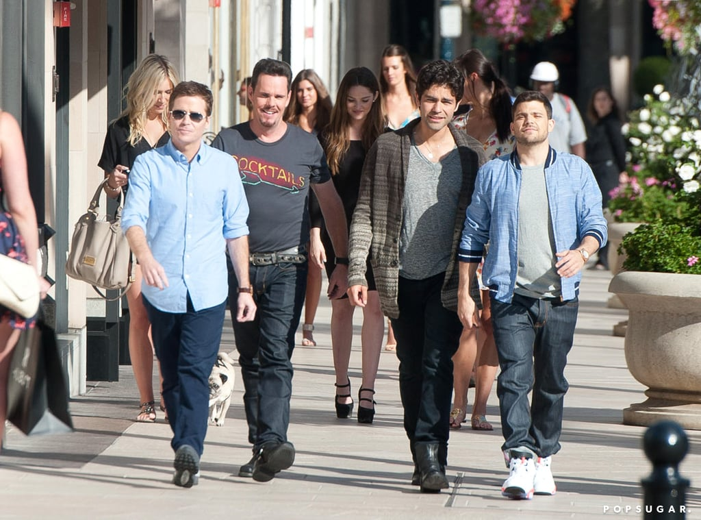 The Entourage cast was back in action, with Kevin Connolly, Kevin Dillon, Adrian Grenier, and Jerry Ferrara filming on Rodeo Drive in LA on Monday.