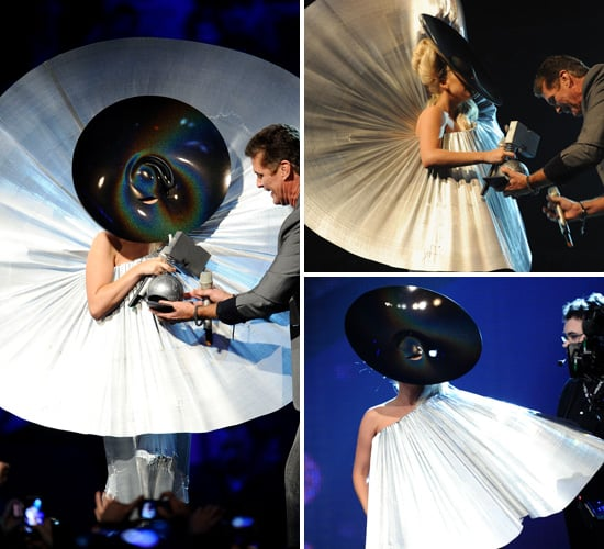 Pictures of Lady Gaga Silver Disc Outfit at 2011 MTV Europe Music Awards Accepting Best Female Award