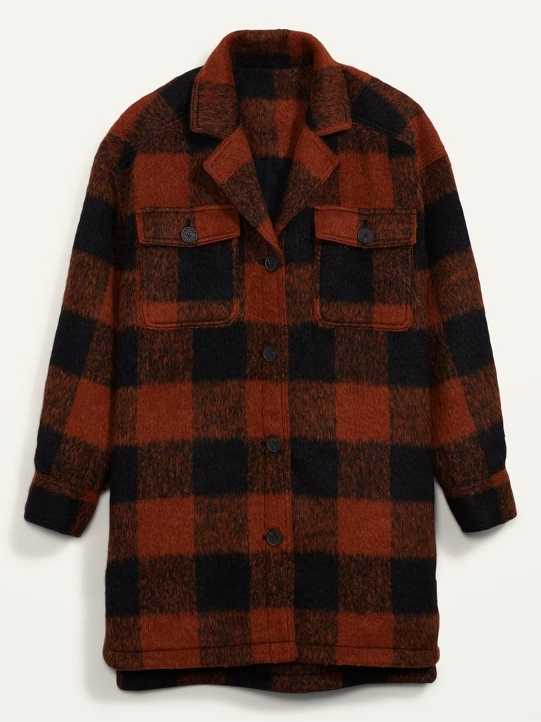 Oversized Soft-Brushed Plaid Long Shirt
