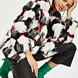 Topshop Geometric Pattern Faux Fur Coat