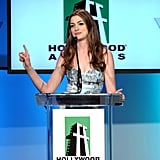 Anne Hathaway made a point on stage.