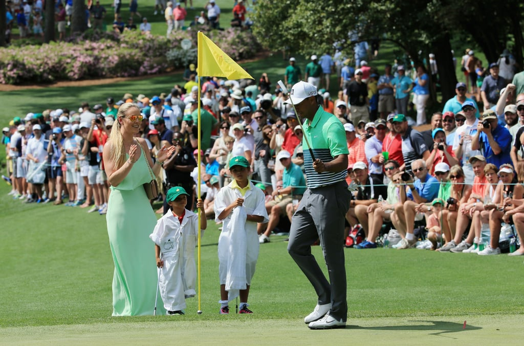 tiger woods with lindsey vonn and his kids at the masters