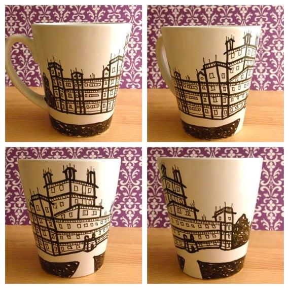 hand-drawn Downton mug