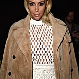 Kim debuted platinum blonde hair during Paris Fashion Week in March 2015.