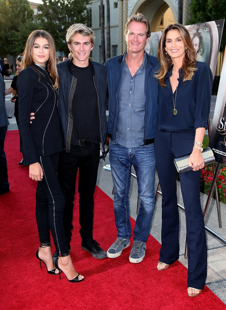 Kaia Gerber had the support of her loving family — mom Cindy Crawford, dad Rande Gerber, and brother Presley — at the premiere of Lifetime's Sister Cities in LA on Wednesday night. The model, who makes her acting debut in the film, struck a handful of gorgeous poses alongside her family before making her way inside the Paramount Theatre. The movie, which airs on Lifetime on Sept. 17, stars Troian Bellisario and Michelle Trachtenberg, and is about four estranged sisters who reunite after their mother's alleged suicide. In addition to the film, Kaia is also featured in Teen Vogue's September issue. As part of her interview, the soon-to-be 15-year-old was interviewed by Cindy, and discussed everything from how the modeling world has affected her to how Cindy decided to allow her daughter to follow in her iconic footsteps.        Related:                                                                A Closer Look at the Fabulous Life of Cindy Crawford's Family                                                                   Cindy Crawford's Daughter Definitely Got Those Insane Genes!