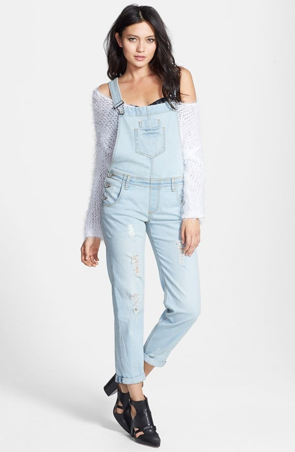 Edyson light denim destroyed overalls ($98)