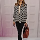 Olivia Palermo gave a ladylike twist to her Tibi stripes with a pair of Mulberry bowed heels.