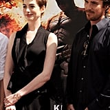 Christian Bale and Anne Hathaway posed together at Christopher Nolan's hand and footprint ceremony in LA.