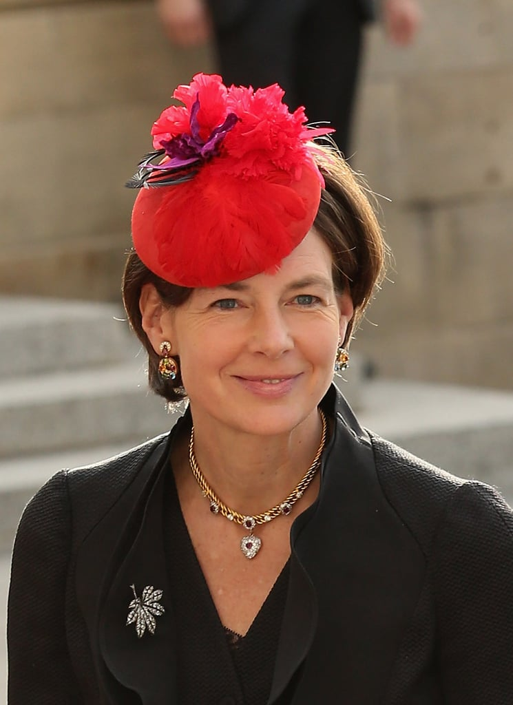 At the wedding of Prince Guillaume of Luxembourg in 2012, Countess Diane of Nassau wore this electric crimson topper.