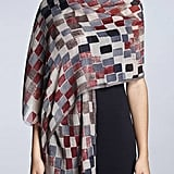 Rumour London Checked Print Wool and Silk Blend Scarf
