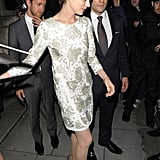 Anne Hathaway attended the afterparty for her new film in a patterned dress.