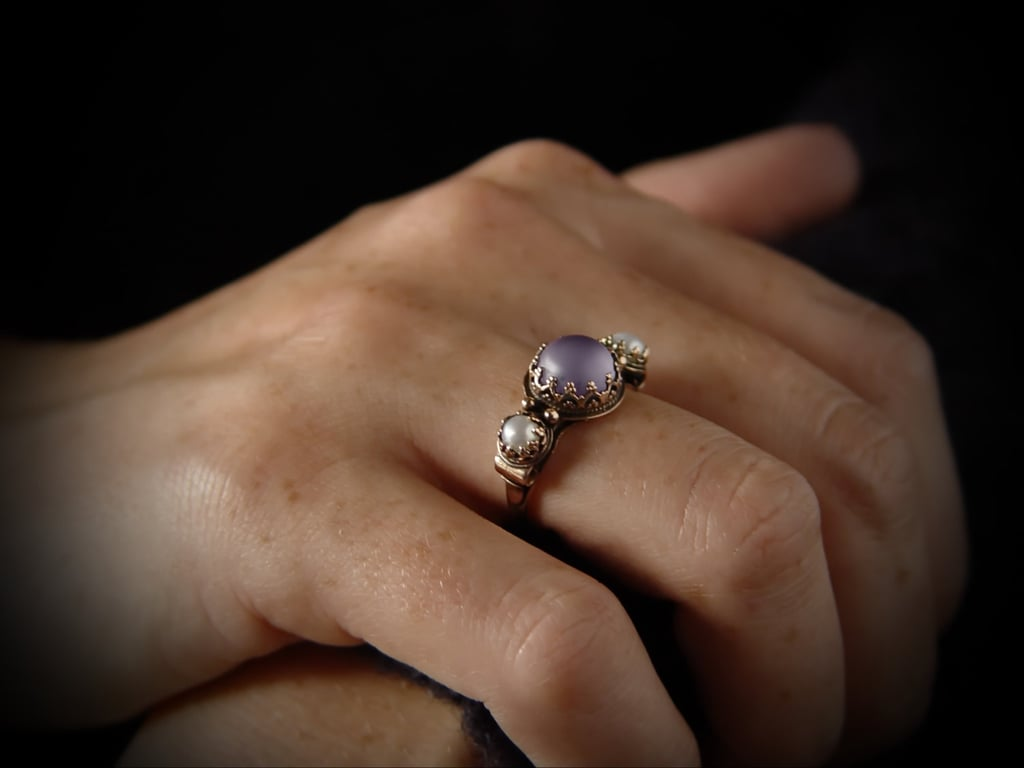 Made of 14k rose gold, this aquamarine and pearl ring ($425) was inspired by the Victorian era.