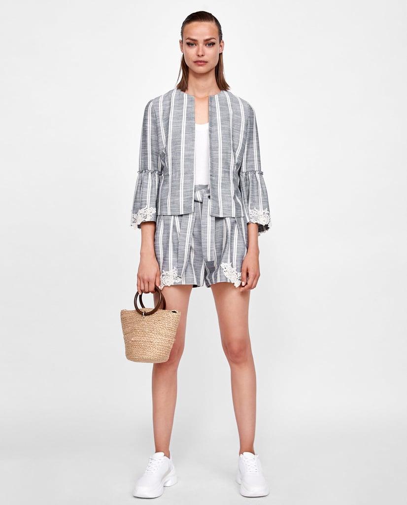 055c457e84 Zara Striped Shorts Set | Zara Sale Summer 2018 | POPSUGAR Fashion ...
