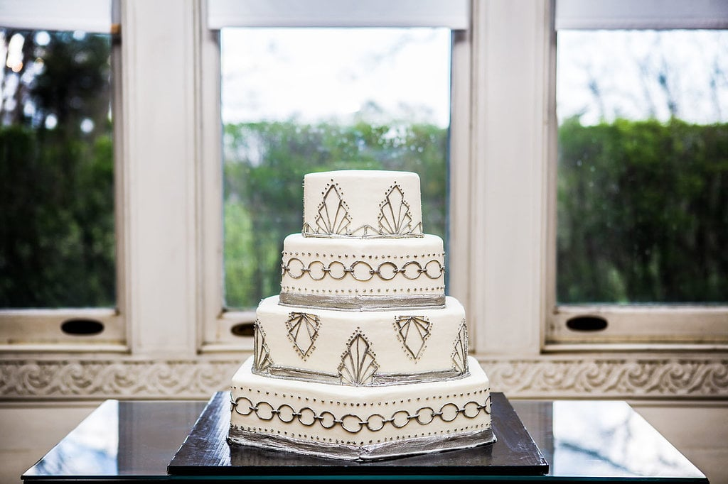 The silver fondant and hexagonal tiers make this cake anything but staid.