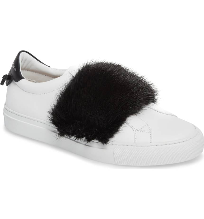 Slip-On Sneakers leather white mink fur blue Givenchy d8rsr7lXt