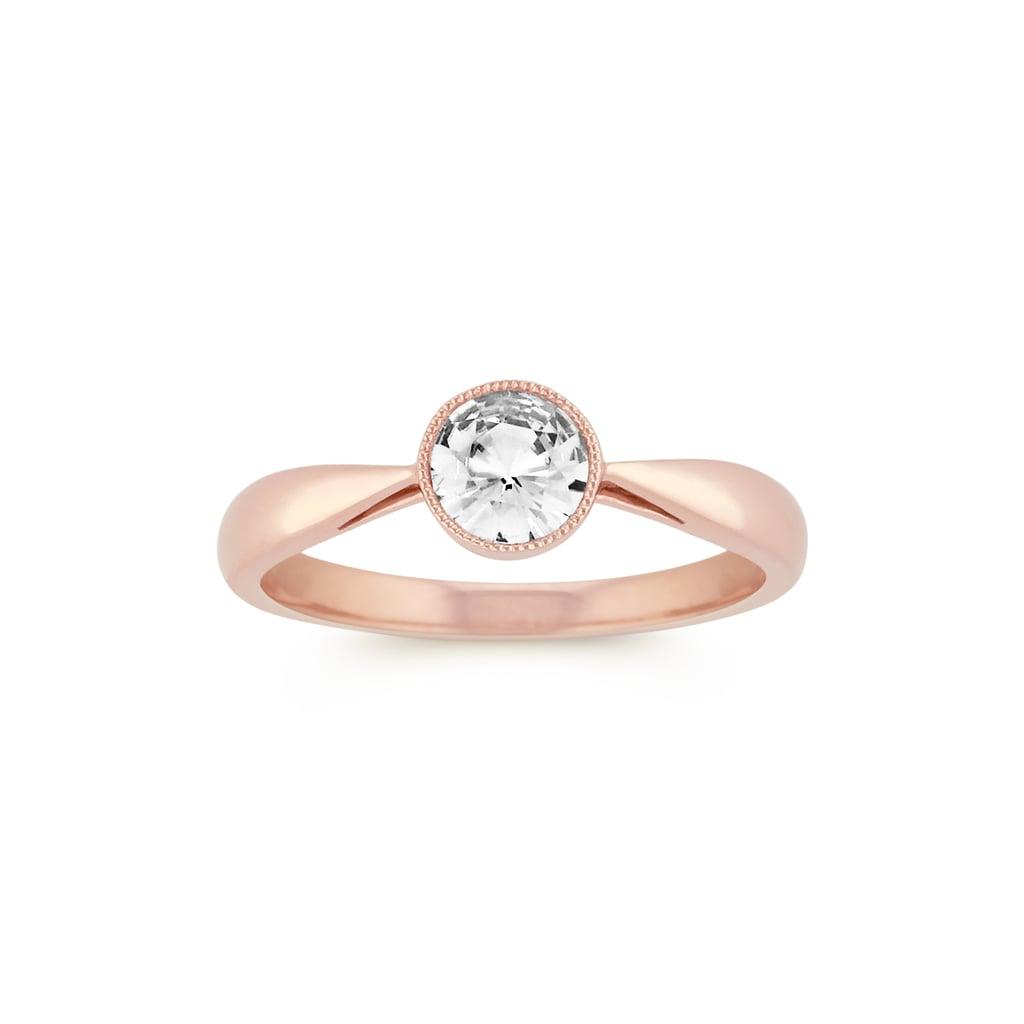 Shane Co. Round Bezel-Set White Sapphire Ring in 14k Rose Gold
