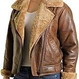 Brandslock Real Shearling Sheepskin Leather Flying Bomber Aviator Jacket
