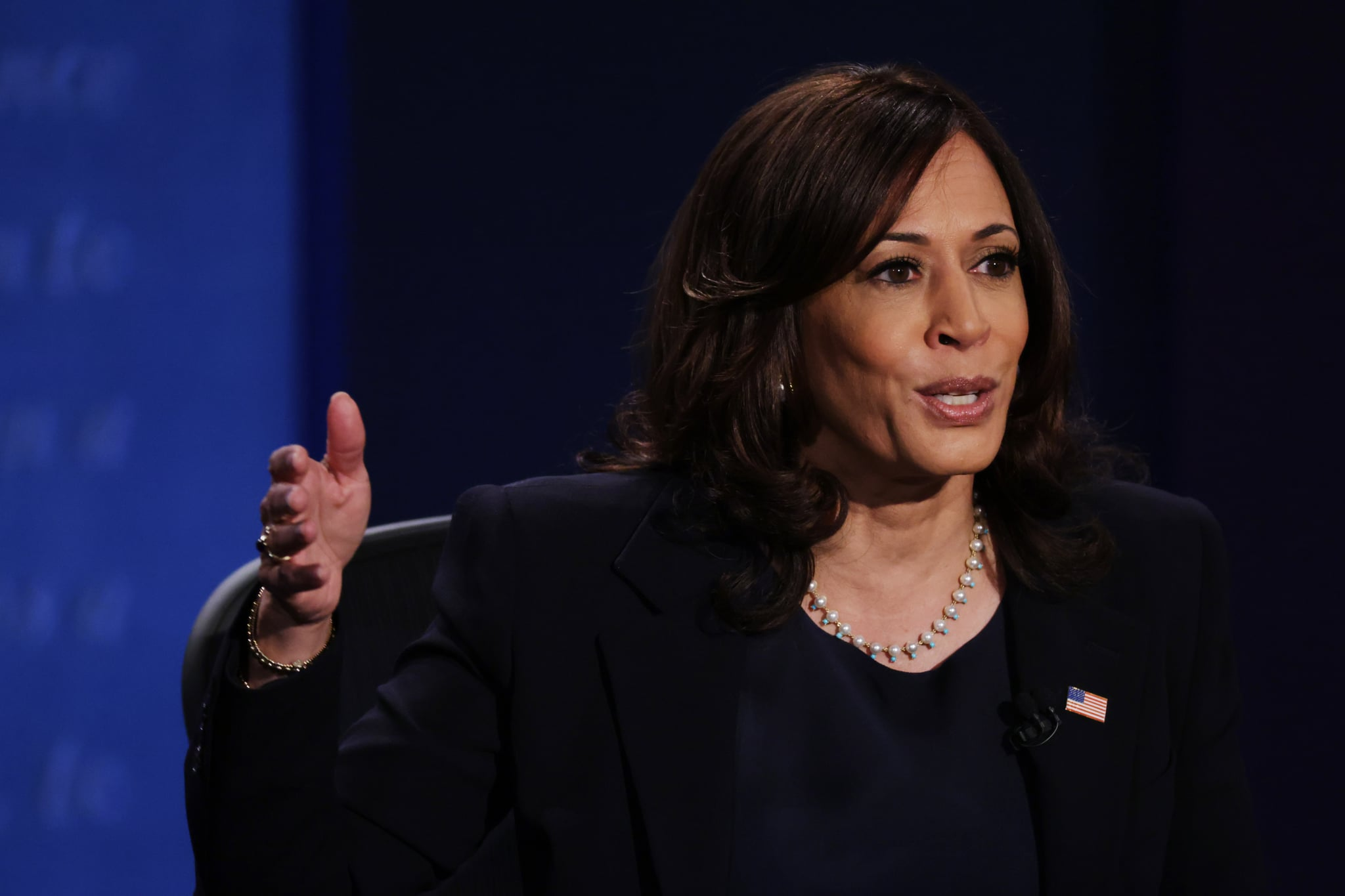 SALT LAKE CITY, UTAH - OCTOBER 07: Democratic vice presidential nominee Sen. Kamala Harris (D-CA) participates in the vice presidential debate against U.S. Vice President Mike Pence at the University of Utah on October 7, 2020 in Salt Lake City, Utah. The vice presidential candidates only meet once to debate before the general election on November 3. (Photo by Alex Wong/Getty Images)