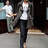 The star went with practical footwear for a day in NYC, opting for a pair of flats with her casual outfit.
