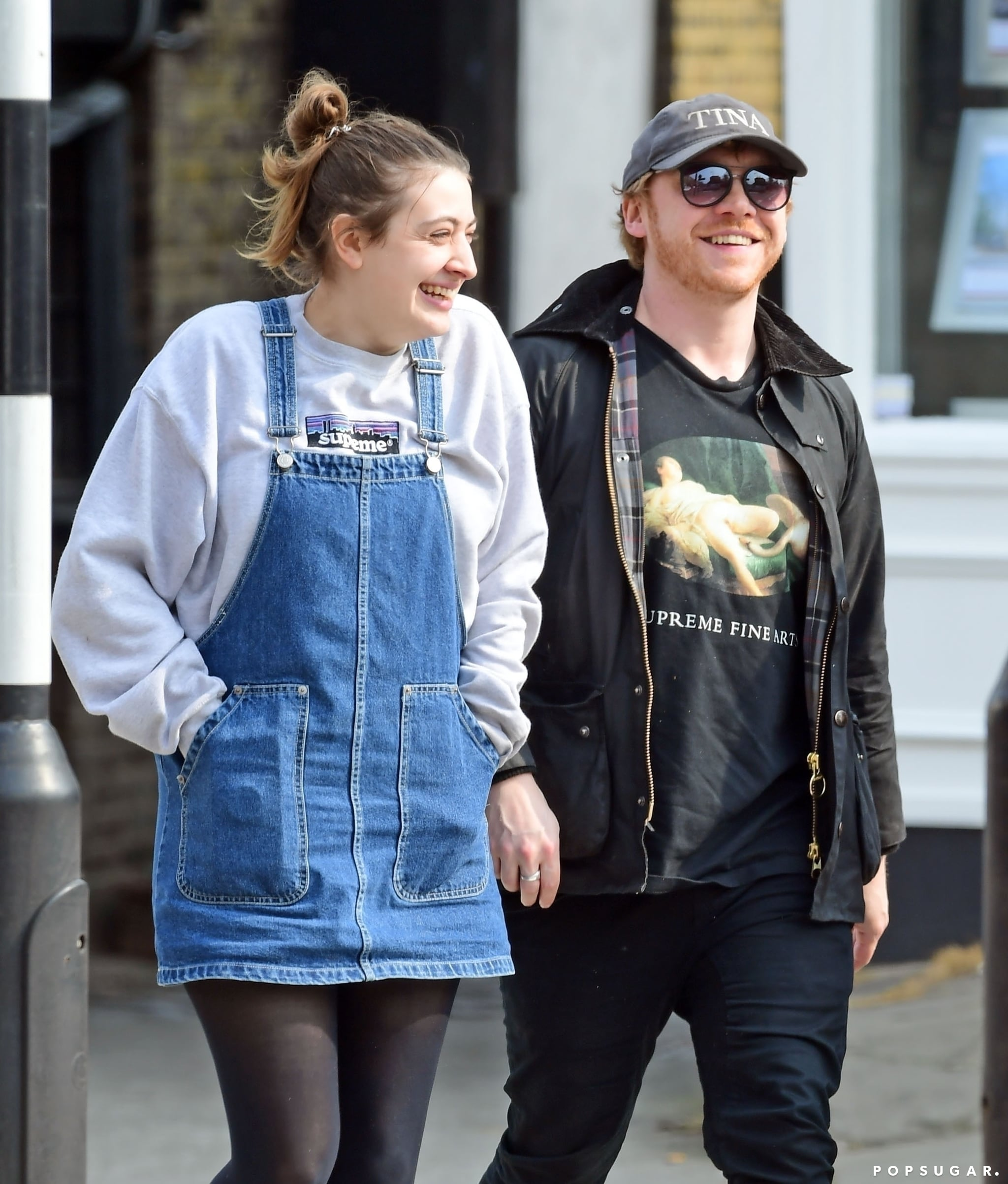London, UNITED KINGDOM  - *EXCLUSIVE*  -  Harry Potter actor Rupert Grint and longtime girlfriend Georgia Groome pictured out enjoying lunch together and both sporting wedding bands. The loved up couple were out with friends having a great time at a very village themed looking pub in plush Highgate, North London. Is it possible that the our beloved Harry Potter's Ron Weasley has got married in secret??*PICTURES TAKEN ON 17/04/2019*Pictured: Rupert Grint and Georgia GroomeBACKGRID USA 21 APRIL 2019 BYLINE MUST READ: NASH / BACKGRIDUSA: +1 310 798 9111 / usasales@backgrid.comUK: +44 208 344 2007 / uksales@backgrid.com*UK Clients - Pictures Containing ChildrenPlease Pixelate Face Prior To Publication*
