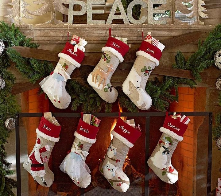 Woodland Linen Stockings Family Christmas Stocking Sets