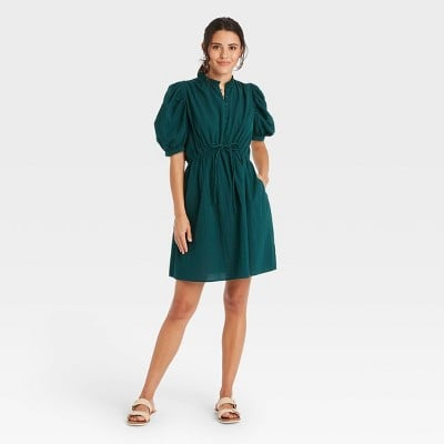 Stylish Sleeves: A New Day Puff Elbow Sleeve Seersucker Dress