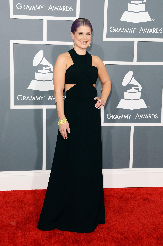 Kelly Osbourne opted for a black floor-length dress.