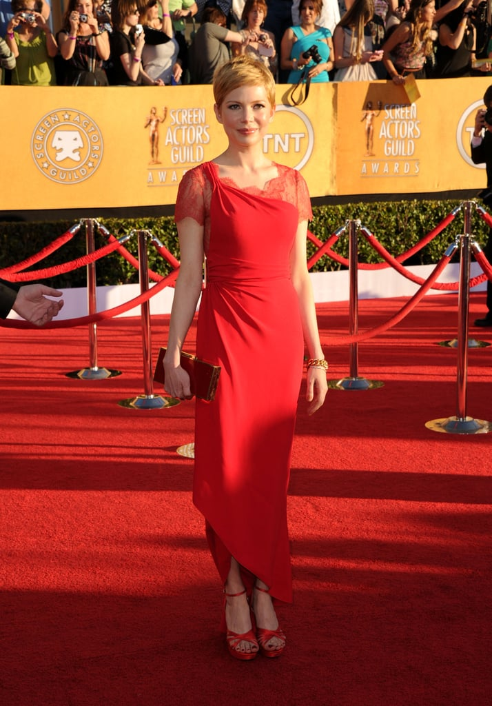 Michelle Williams wore red Valentino.