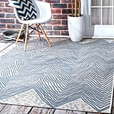 Carys Chevron Blue Indoor / Outdoor Use Area Rug
