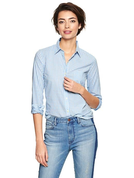 Gap Fitted Blue Gingham Button-Up