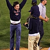 Boston Red Sox fan Jimmy Fallon celebrated after the Red Sox defeated the St. Louis Cardinals in game four of the World Series in October 2004.